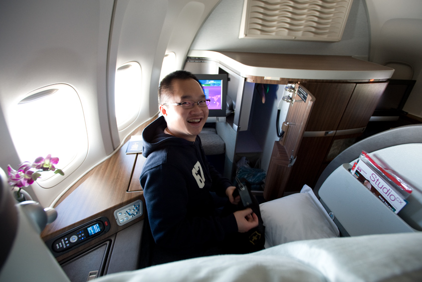 laurie on cathay pacific boeing 747-400 flight to sapporo