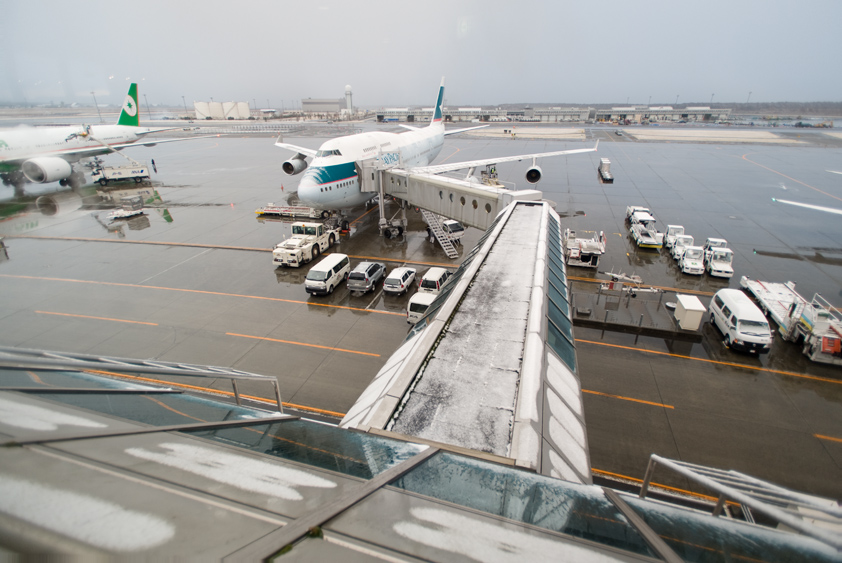 cathay pacific boeing 747-400 at new chitose airport